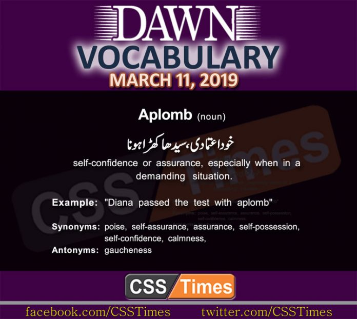Daily Dawn Vocabulary with Urdu Meaning 11 March 2019 English Grammar