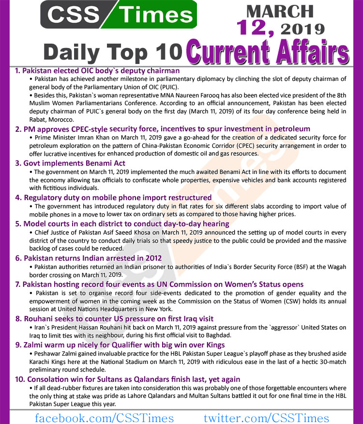 Day by Day Current Affairs (March 12, 2019) | MCQs for CSS, PMS