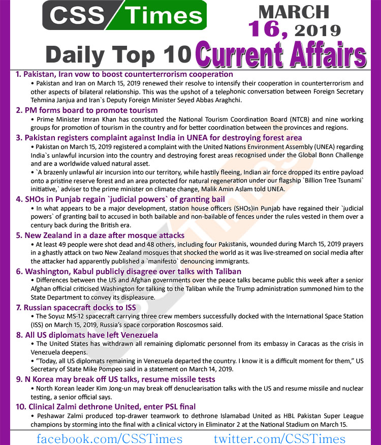 Day by Day Current Affairs (March 16, 2019) MCQs for CSS, PMS