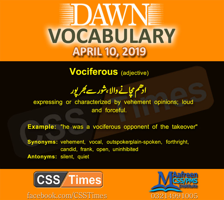 Daily Dawn Vocabulary with Urdu Meaning 10 April 2019 | English Grammar