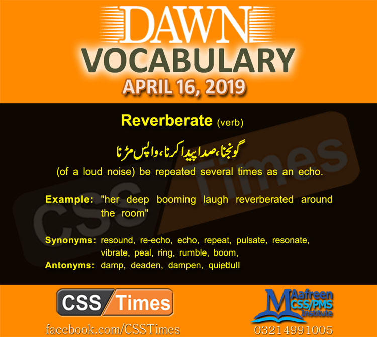 Daily Dawn Vocabulary with Urdu Meaning 16 April 2019 | English Grammar