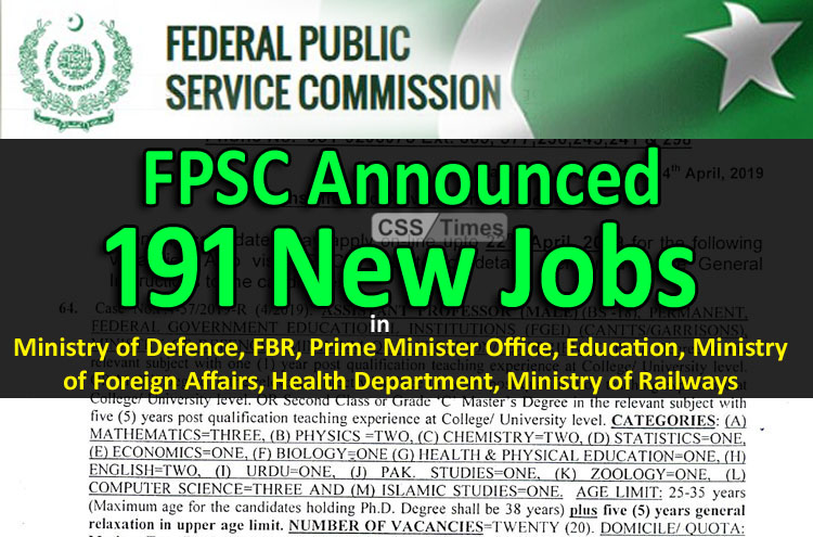 FPSC Announced New jobs in MoD
