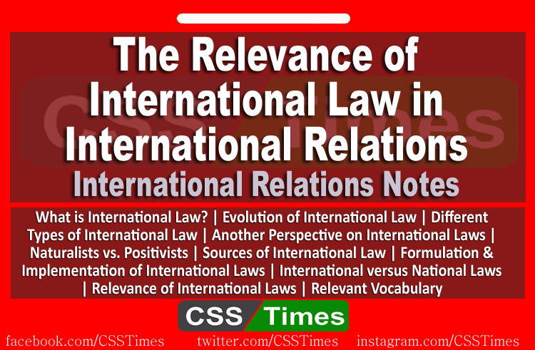 The Relevance of INTERNATIONAL LAW in INTERNATIONAL RELATIONS
