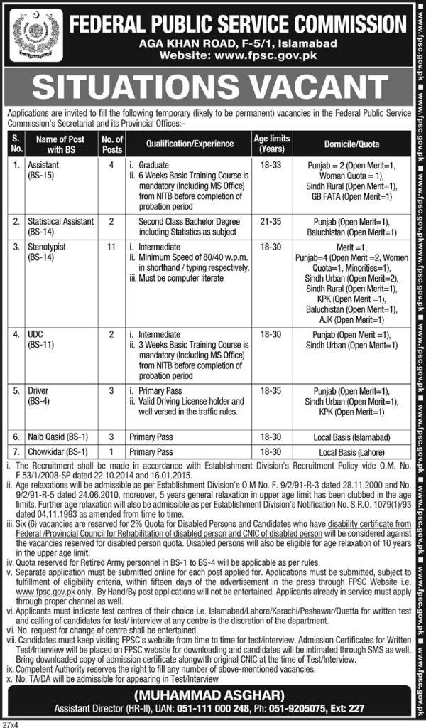 2019 Jobs in FPSC