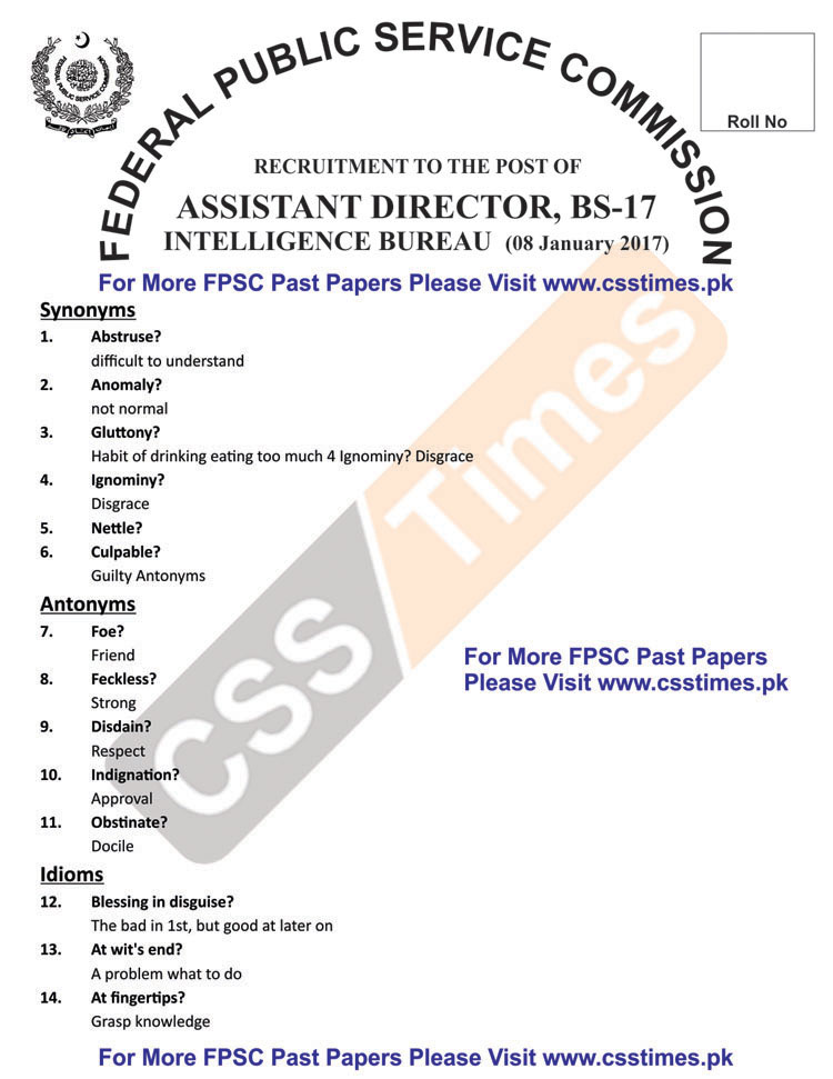 ASSISTANT DIRECTOR INTELLIGENCE BUREAU BS-17 Paper 4