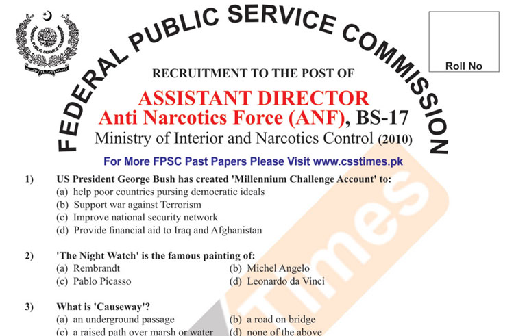 Assistant Director Anti Narcotics Force (ANF), BS-17
