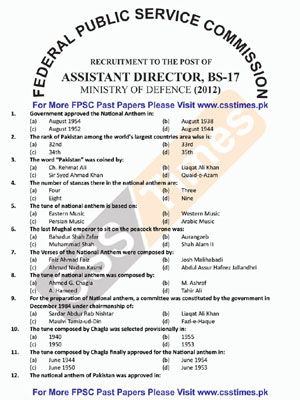 Assistant Director, (Ministry of Defence) Paper 2012 FPSC