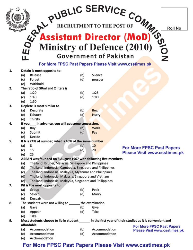 Assistant Director (MoD) Ministry of Defence Paper 2010