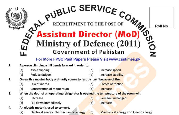 Assistant Director (MoD) Ministry of Defence Paper 2011