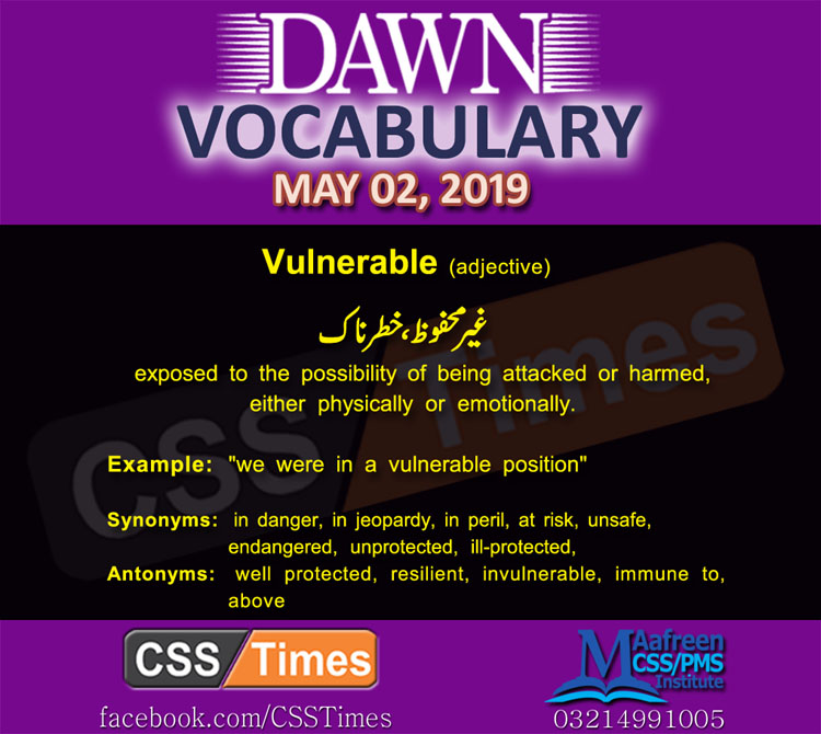 Daily Dawn Vocabulary with Urdu Meaning 2 May 2019 | English Grammar