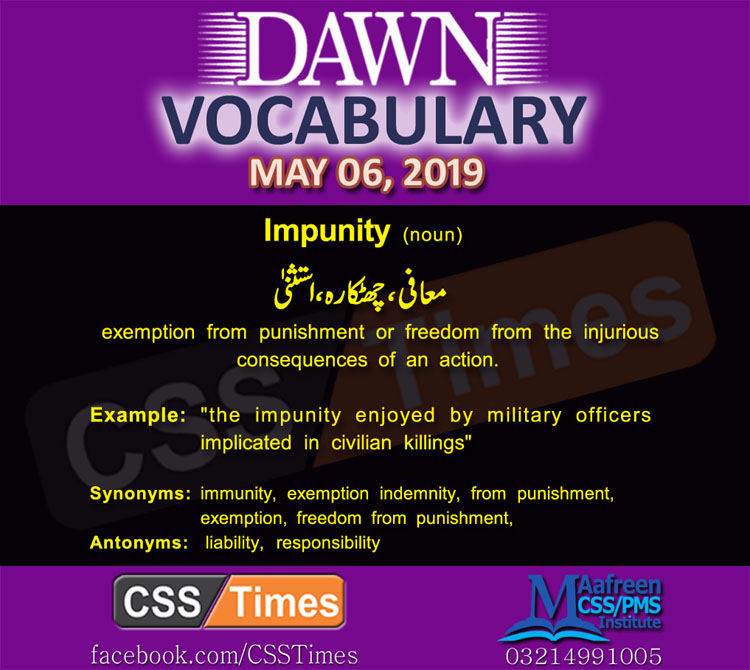 Daily Dawn Vocabulary with Urdu Meaning 6 May 2019 English Grammar