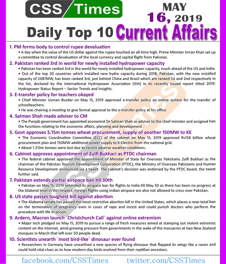 Day by Day Current Affairs (May 16, 2019)