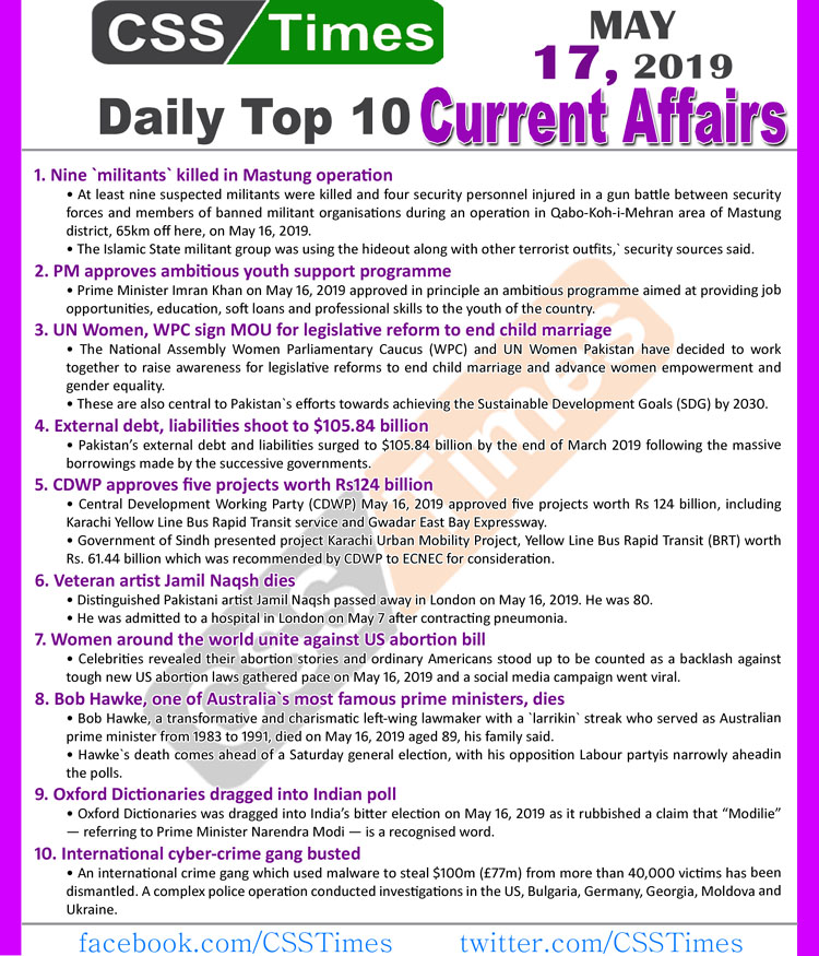 Day by Day Current Affairs (May 17, 2019) | MCQs for CSS, PMS