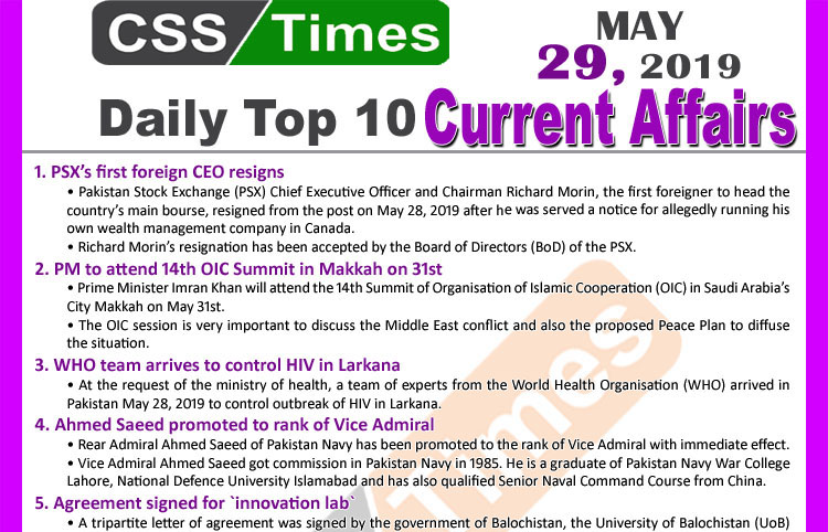 Day by Day Current Affairs (May 29, 2019) | MCQs for CSS, PMS