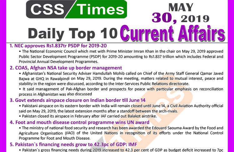 Day by Day Current Affairs (May 30, 2019) | MCQs for CSS, PMS