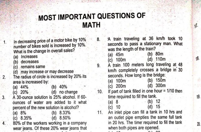 Most Important Questions for Math for Competitive Exams (PDF)