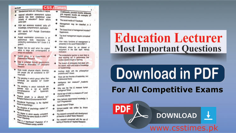 Most Important Questions for the Posts of Education Lecturer (PDF)
