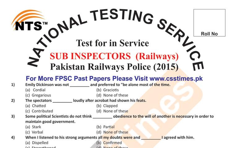 SUB INSPECTORS Pakistan Railways Police (Paper 2015) | NTS Past Papers