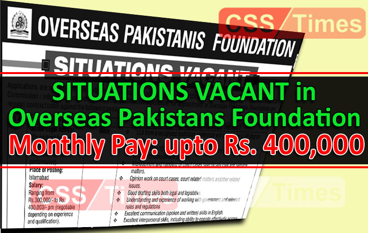 Situations Vacant in Overseas Pakistanis Foundation | Apply Now