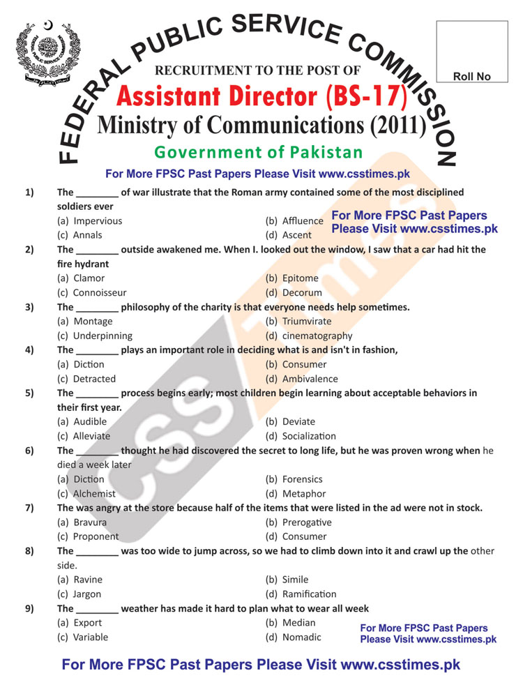 Assistant Director BS-17, Ministry of Communications, Complete Paper 2011