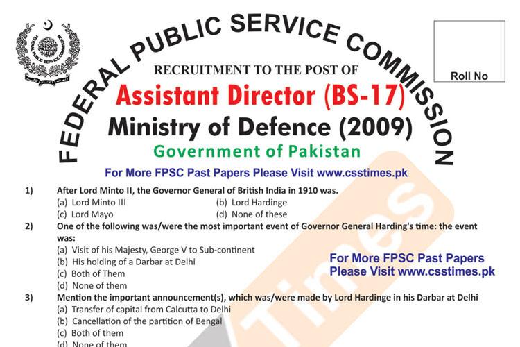 Assistant Director Ministry of Defence (MoD) FPSC Paper 2009