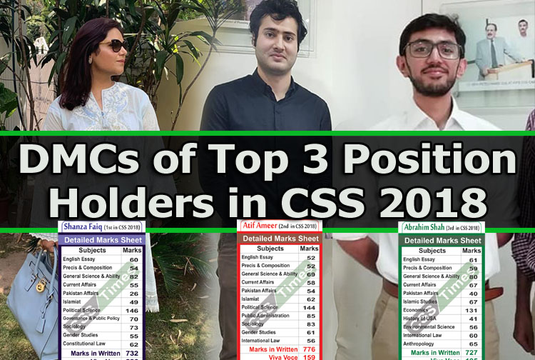 DMCs of Top 3 Position Holders in CSS 2018 Exams