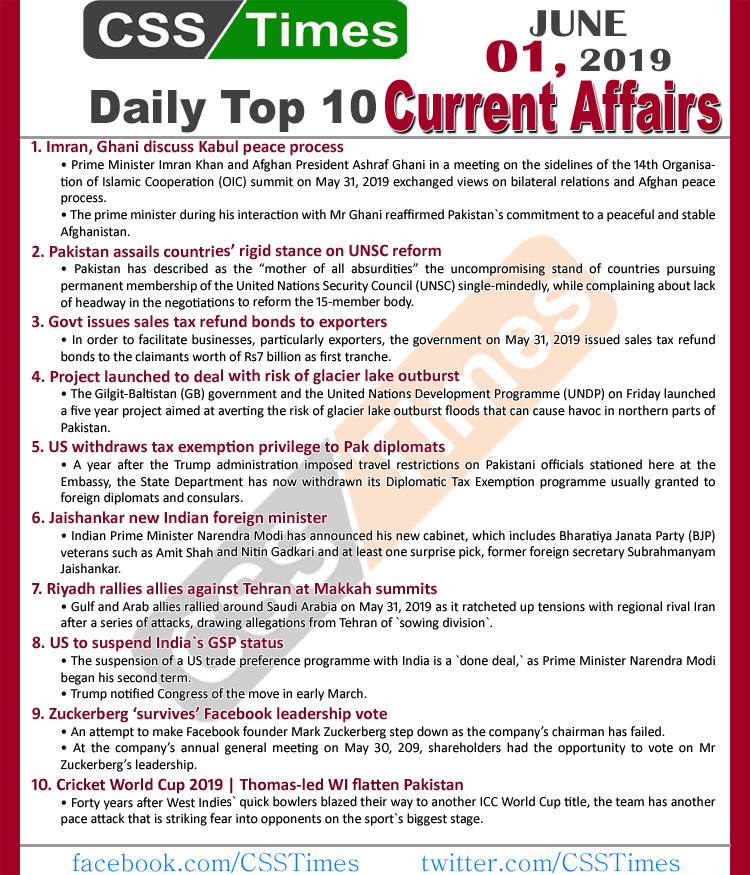 Day by Day Current Affairs (June 01, 2019) | MCQs for CSS, PMS