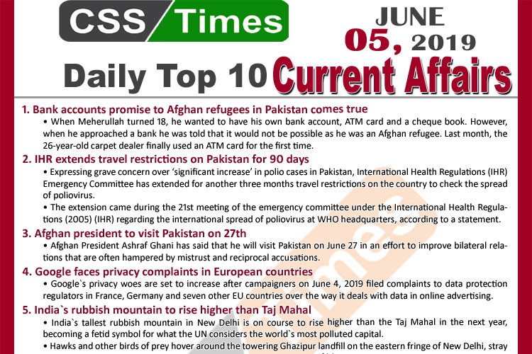 Day by Day Current Affairs (June 05 2019) MCQs for CSS, PMS