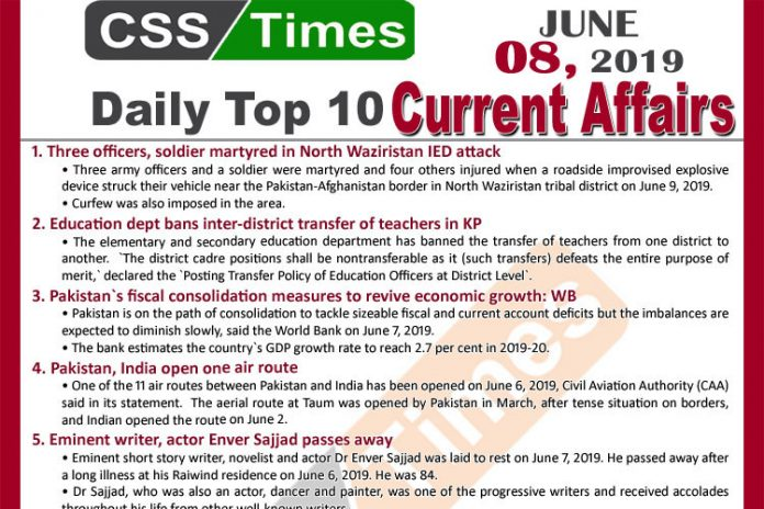 Day by Day Current Affairs (June 08, 2019) | MCQs for CSS, PMS