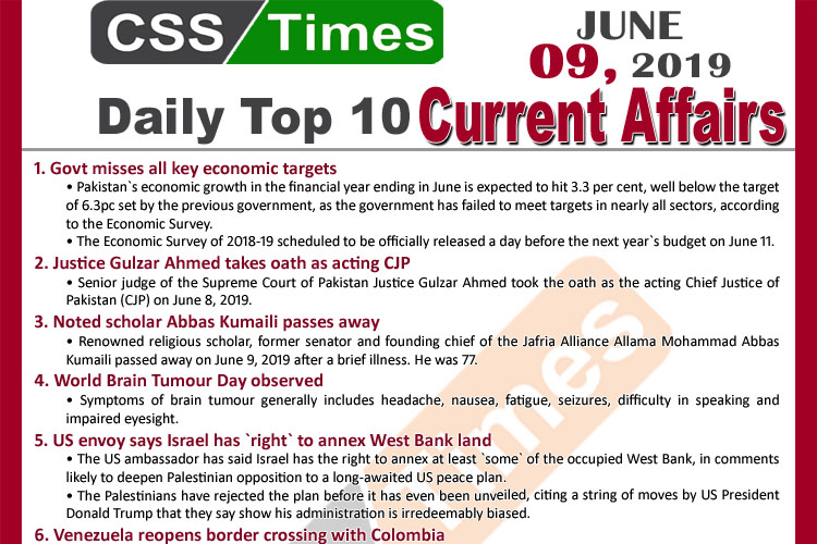 Day by Day Current Affairs (June 09, 2019)   MCQs for CSS, PMS