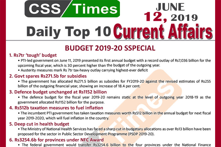Day by Day Current Affairs (June 12, 2019) | Budget 2019-20 SPECIAL