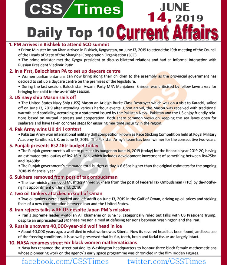 Day by Day Current Affairs (June 14, 2019) MCQs for CSS, PMS JPG