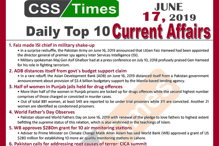 Day by Day Current Affairs (June 17, 2019) | MCQs for CSS, PMS