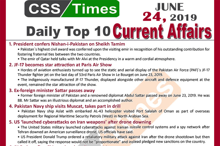 Day by Day Current Affairs (June 24, 2019) MCQs for CSS, PMS