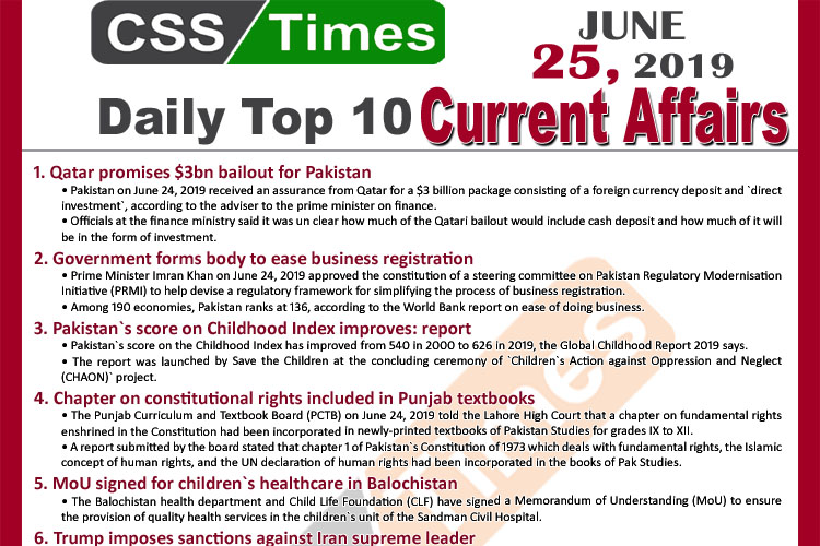Day by Day Current Affairs (June 25, 2019) | MCQs for CSS, PMS