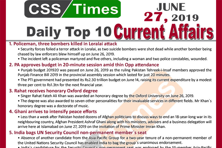 Day by Day Current Affairs (June 27, 2019) | MCQs for CSS, PMS