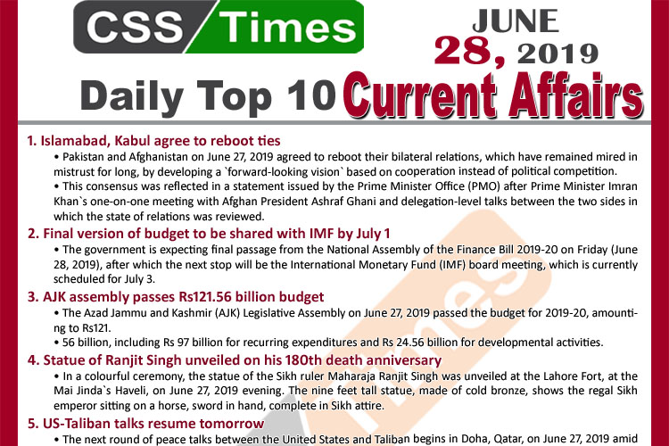 Day by Day Current Affairs (June 28, 2019) | MCQs for CSS, PMS