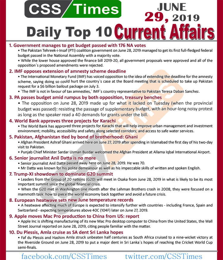 Day by Day Current Affairs (June 29, 2019) | MCQs for CSS, PMS