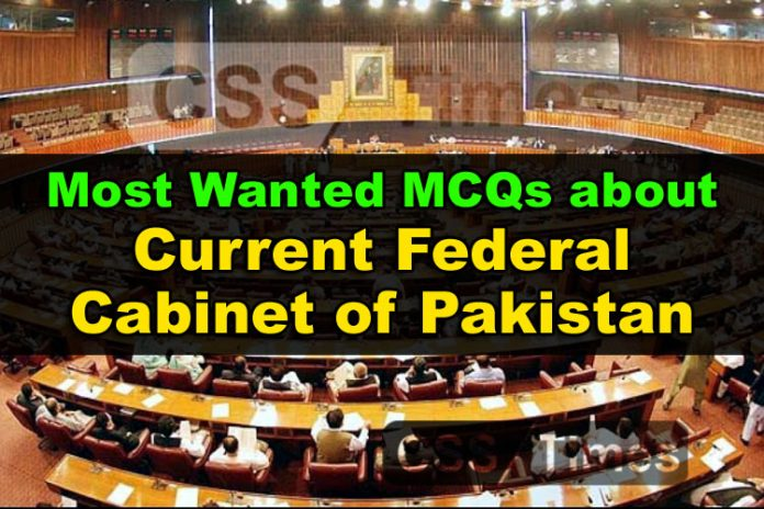 Important and Most Wanted MCQs about Current Federal Cabinet of Pakistan