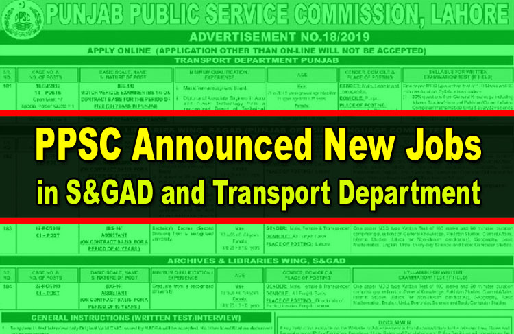 PPSC Announced New Jobs in S&GAD and Transport Department
