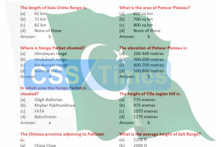 Pakistan Studies/Affairs: Most Important MCQs (Set V) for