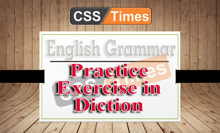 Practice Exercise in Diction