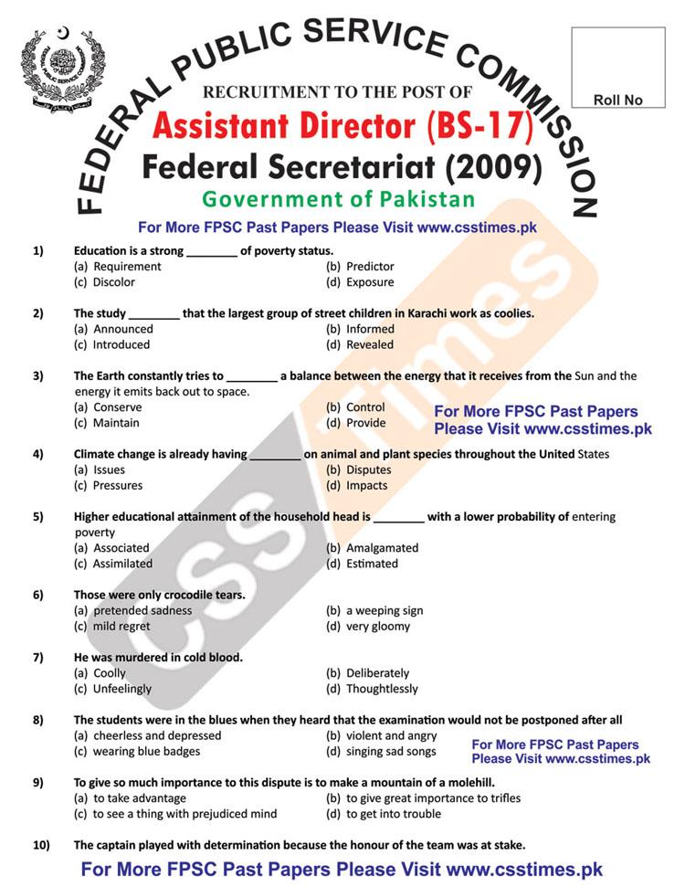 ASSISTANT DIRECTOR Federal Secretariat Paper BS-1