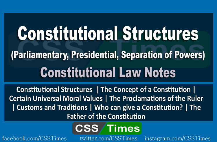 Constitutional Structures (Parliamentary, Presidential, Separation of Powers) | CSS Constitutional Law Notes