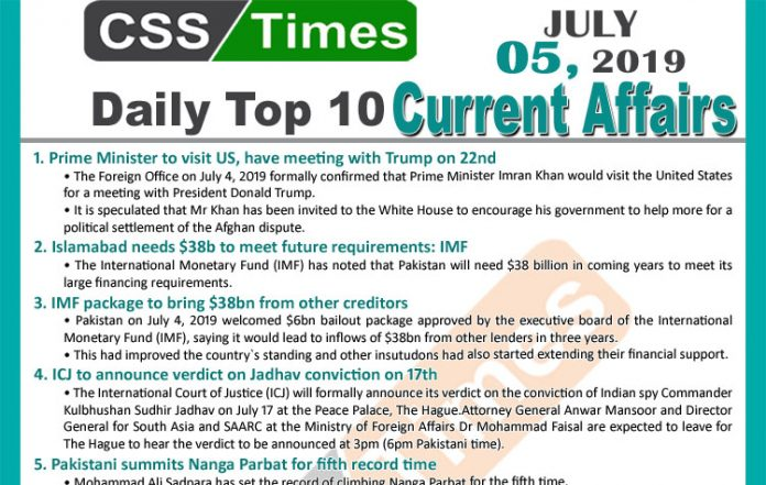 Day by Day Current Affairs (July 05, 2019)   MCQs for CSS, PMS