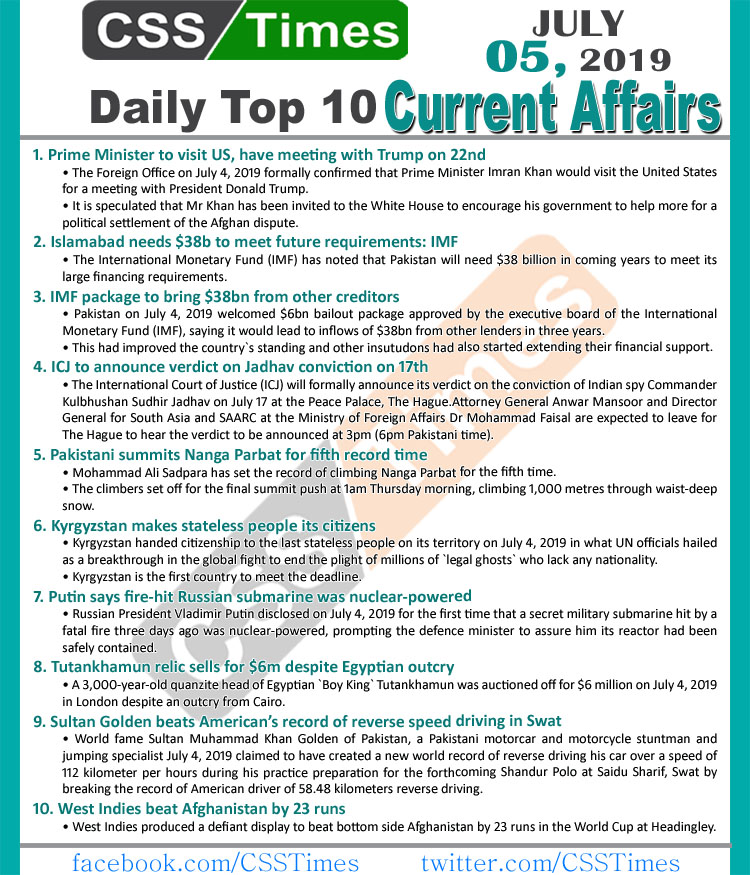 Day by Day Current Affairs (July 05, 2019) | MCQs for CSS, PMS