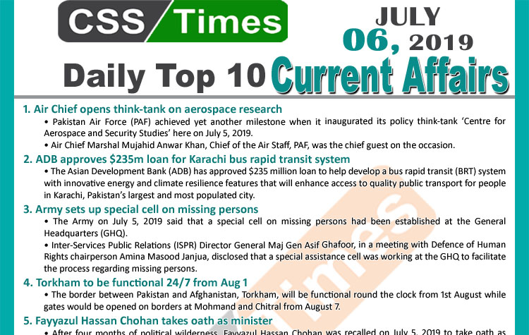 Day by Day Current Affairs (July 06, 2019), MCQs for CSS, PMS