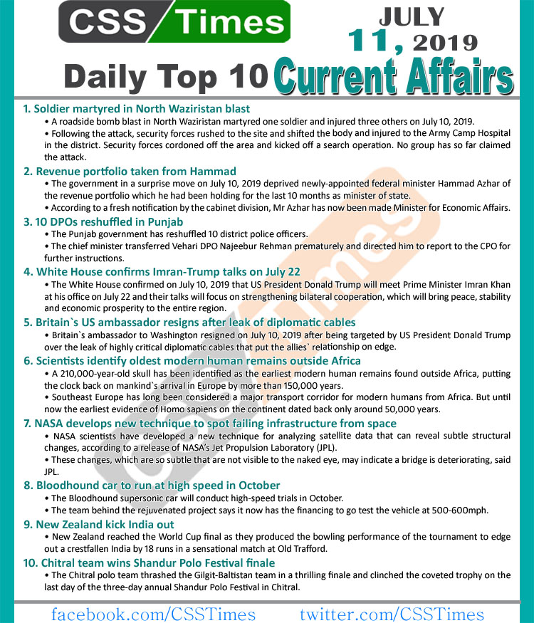 Day by Day Current Affairs (July 11, 2019), MCQs for CSS, PMS