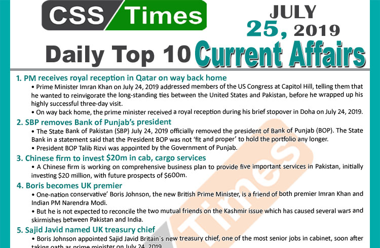 Day by Day Current Affairs (July 25, 2019) | MCQs for CSS, PMS