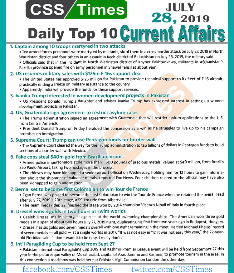 Day by Day Current Affairs (July 28, 2019) MCQs for CSS, PMS